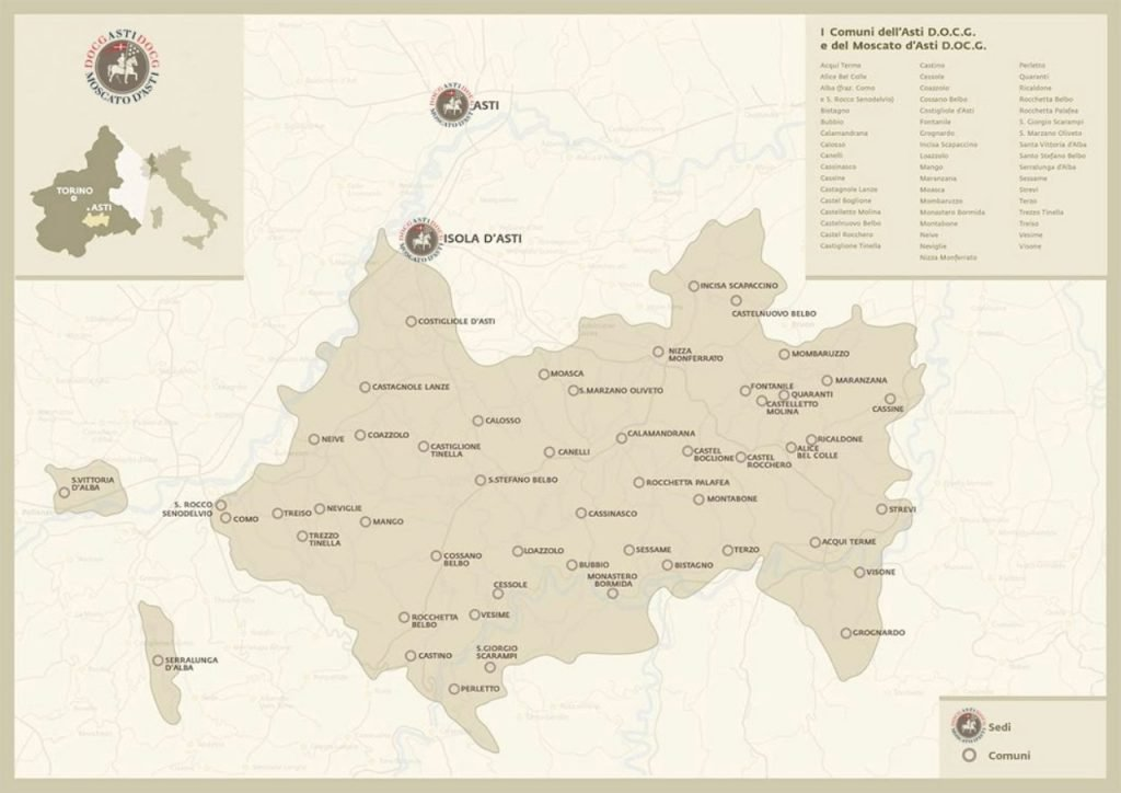 Moscato d'Asti Docg, the map