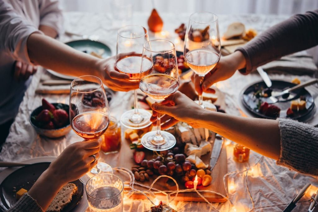 A toast with rosé wine
