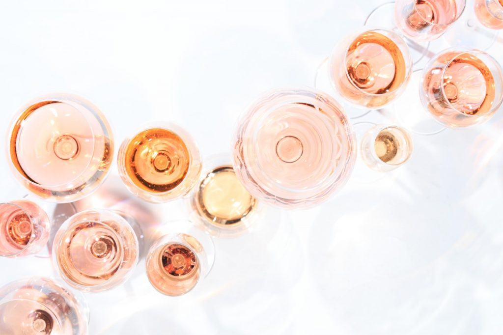 a multiple variety of rosé wine shades